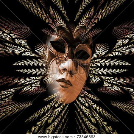 Surreal Carnival Mask And Fractal Pattern Of The Leaves As Divergent Rays