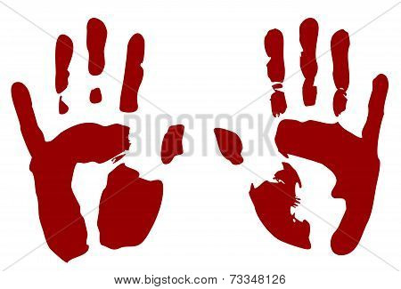 Bloody print of hands