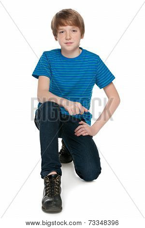 Preteen Boy On The White Background