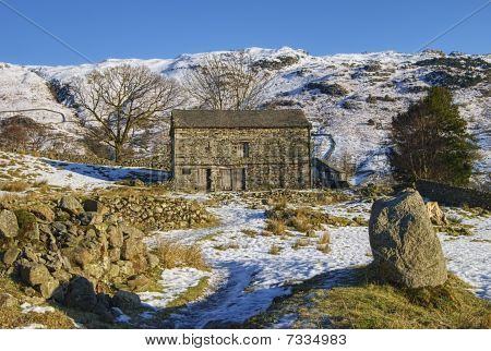 Barn In Wintry Countryside