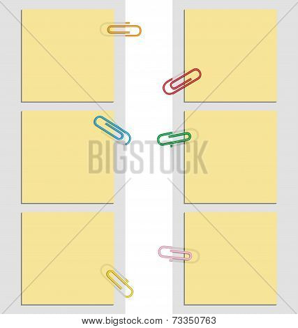 Nine Post It Notes And Clips