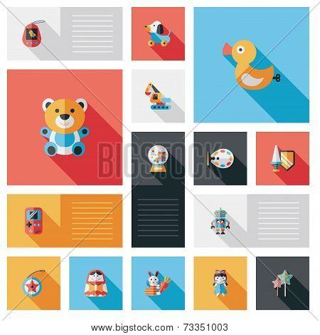 Kid Toy Flat Ui Background Set