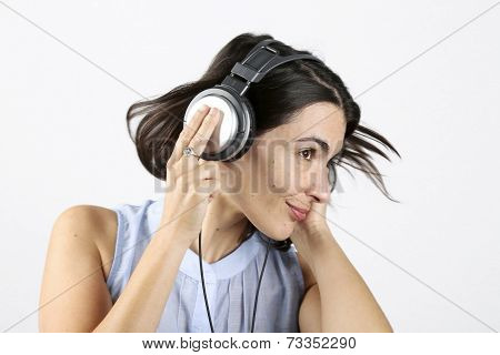 Woman feeling good listening to music