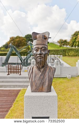 Bust Of Jang Yeong-sil In Dongnae Castle In Busan, Korea