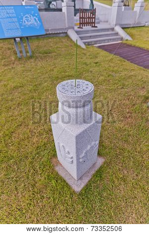 Two-step Cylindrical Sundial In Science Garden In Busan, Korea
