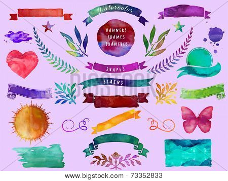Watercolor Banners, Frames, Branches and Shapes, including heart, sun, star and butterfly