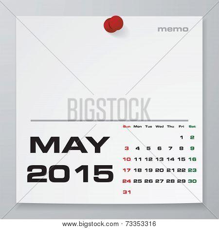 Simple 2015 year vector calendar : May 2015