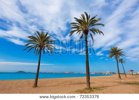Playa Paraiso beach in Manga Mar Menor Murcia at Spain