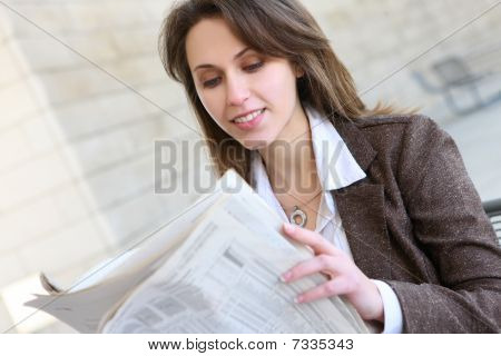 Pretty Business Woman Reading