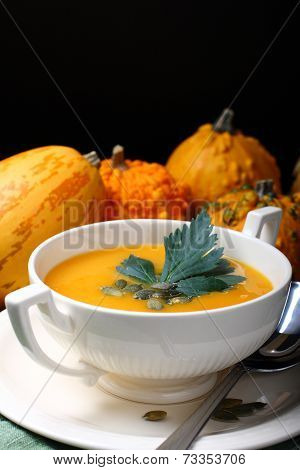 Pumpkin Soup In White Bowl With Celery Leaves