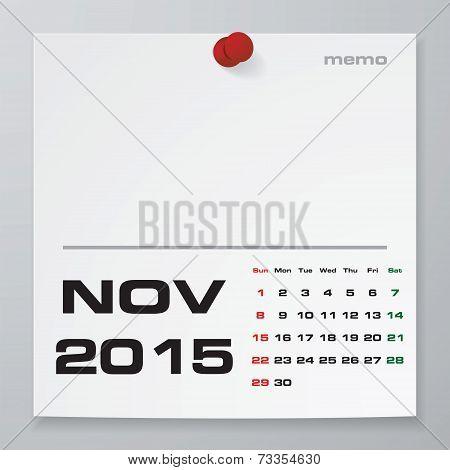 Simple 2015 year vector calendar : November 2015
