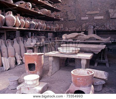 Roman artifacts, Pompeii.