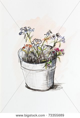 A Bucket Of Discarded Flowers