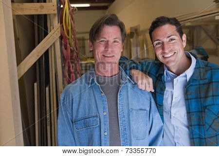 Multi-ethnic men in wood shop