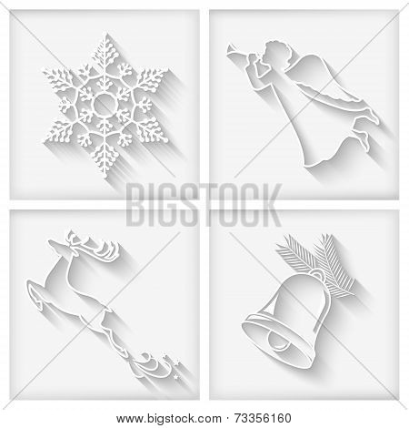 Vector White Long Shadows Christmas Icons
