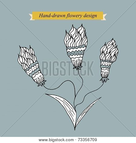 Hand-drawn flowery design on grey
