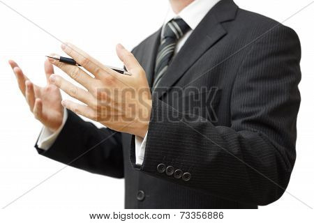 Businessman With A Gesture Of Explaining  On Meeting