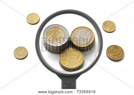 Concept Of Financial Balloon With Magnifier And Money
