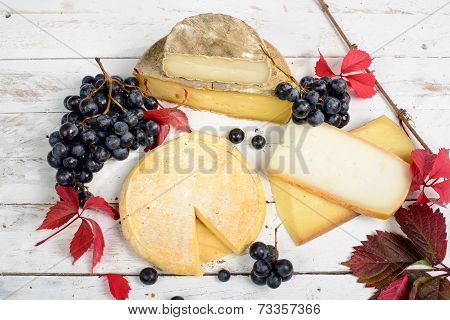 Different French Cheeses Produced In The Alps Mountains