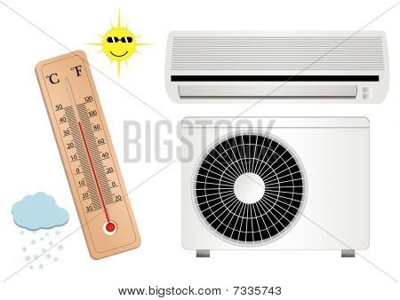Air conditioner vector illustration with thermometer