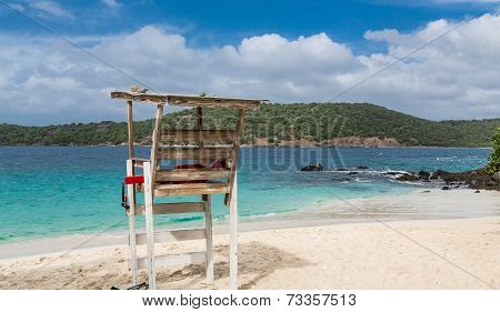 Lifeguard Chair On White Sandy Beach