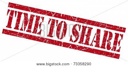 Time To Share Red Square Grunge Textured Isolated Stamp