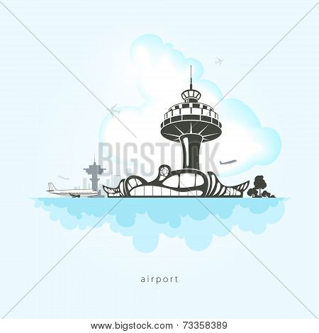 Airport with planes, vector illustration