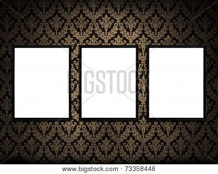 Antique background image with three blank white canvases for copy or image
