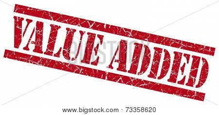 Value Added Red Square Grunge Textured Isolated Stamp