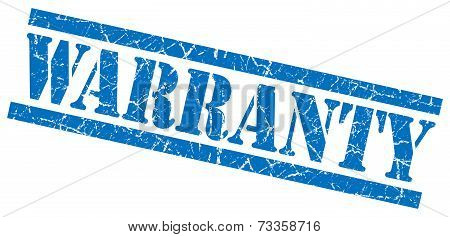 Warranty Blue Square Grunge Textured Isolated Stamp
