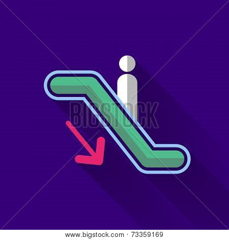 Colorful Flat Design Escalator Down Icon