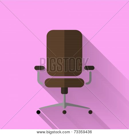 Colorful Flat Design Office Chair Icon