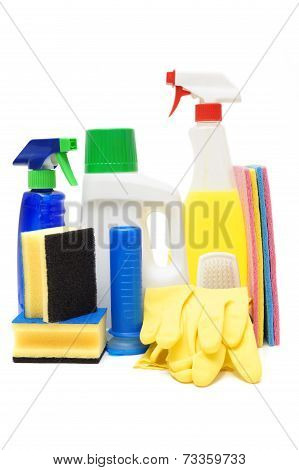 Cleaning Products Isolated Over White