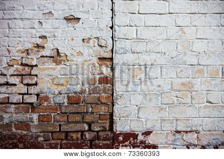 Old Whitewashed Brick Walls