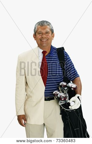 Hispanic man wearing half business suit half golf outfit