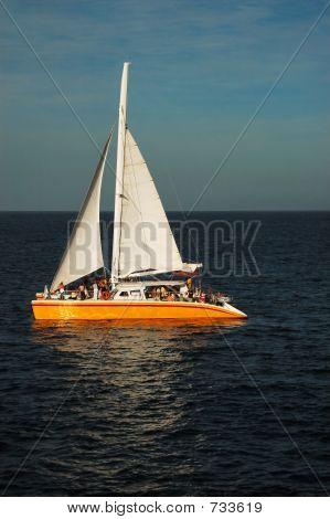Catamaran at sea in the sunset