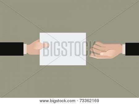 A hand giving a paper another hand. Flat vector illustration.