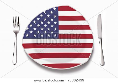 Plate with American flag