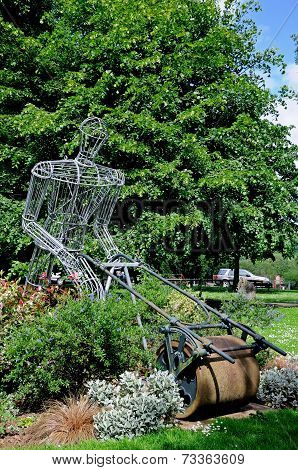 Lawnmower sculpture, Leominster.