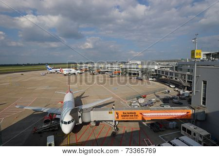 DUSSELDORF - SEP 16: airport airfield on September 16, 2014 in Dusseldorf, Germany. International airport of Dusseldorf  located approximately 7 kilometres of downtown Dusseldorf