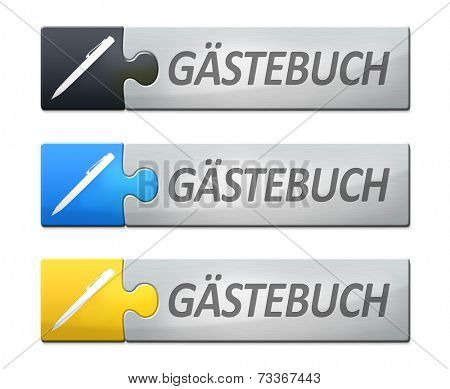 A stylish web banner with text guestbook in german language
