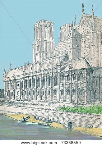 Notre Dame in the 13th century  Paris France. Modern watercolor illustration from a 19th century