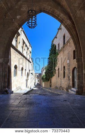 Typical narrow lane in Lindos, Rhodes, Greece