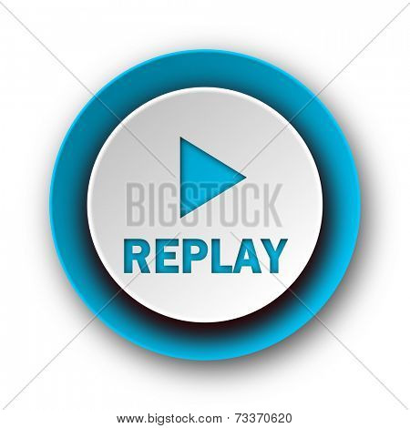replay blue modern web icon on white background