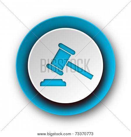 auction blue modern web icon on white background