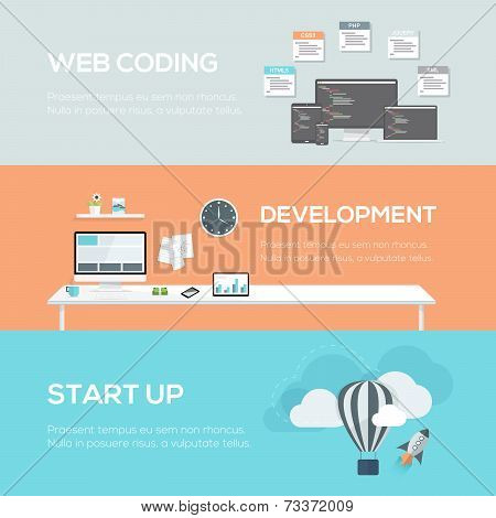 Flat web design concepts. Web coding, development and startup.