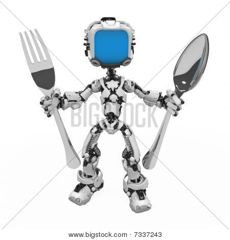 Blue Screen Robot, Spoon And Fork