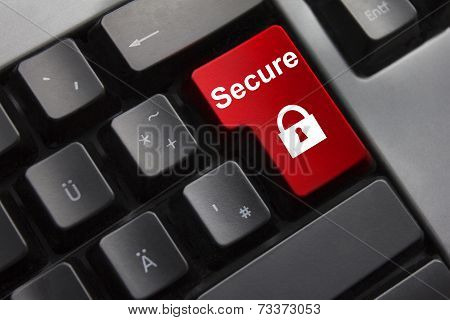 Keyboard Red Enter Button Secure