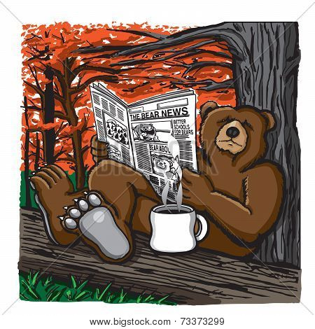 Bear reading the newspaper