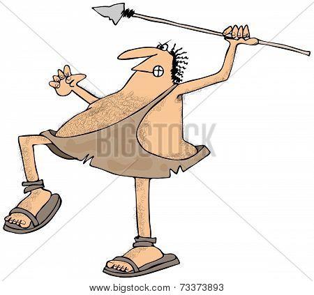 Caveman throwing a spear